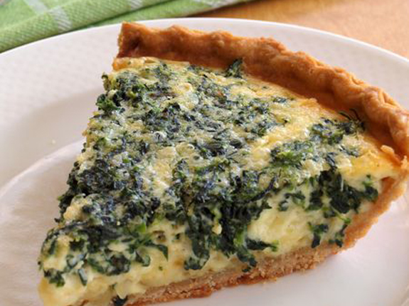 Spinach Quiche Leaning Birch Farm